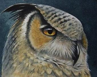 Owl Bird Miniature Art by Melody Lea Lamb ACEO Print #46