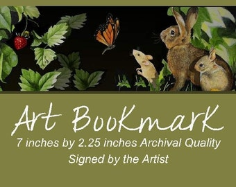 Mouse and Bunny Art Bookmark by Melody Lea Lamb