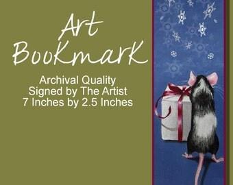 Christmas Mouse Bookmark from Original Art  Melody Lea Lamb