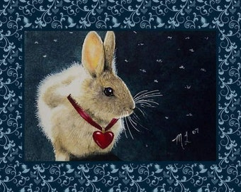 Valentine Bunny Greeting Card by Melody Lea Lamb