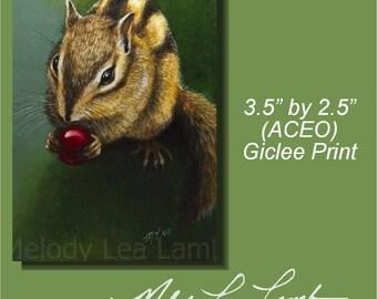 Chipmunk Wildlife Art Melody Lea Lamb ACEO Giclee Print