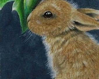 Christmas Bunny Rabbit  Melody Lea Lamb ACEO Giclee Print