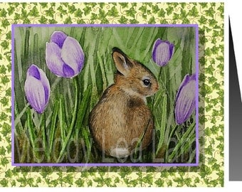 Bunny and Crocus Art by Melody Lea Lamb Set of Four Note Cards
