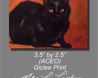 Halloween Black Cat Melody Lea Lamb ACEO Giclee Print