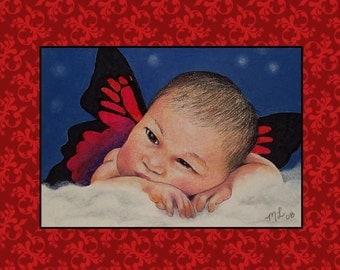 Cherub Angel Single Note Card Art Melody Lea Lamb