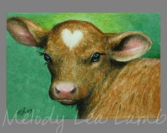 Baby Cow Miniature Art by Melody Lea Lamb ACEO Print
