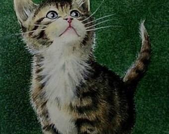 Gray Cat Kitten Miniature Art by Melody Lea Lamb ACEO Giclee Print