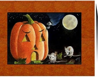 Halloween Mice and Pumpkin Cards Set of Four Art by Melody Lea Lamb