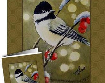 Great Hostess Gift. Set of Four Chickadee Greeting Cards Melody Lea Lamb