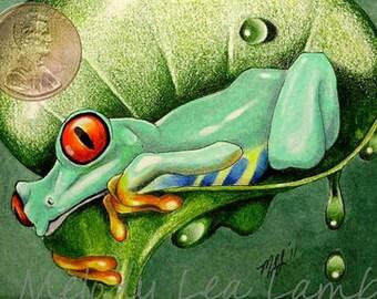 Happy Tree Frog Miniature Art by Melody Lea Lamb ACEO Print