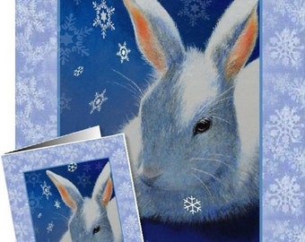 White Holiday Bunny Rabbit Greeting Card by Melody Lea Lamb