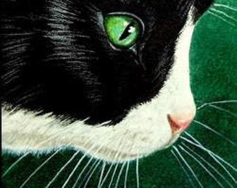 Tuxedo Cat Bookmark From Original Art by Melody Lea Lamb