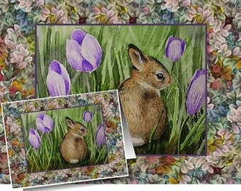 Spring Easter Bunny Art by Melody Lea Lamb Set of Four Note Cards