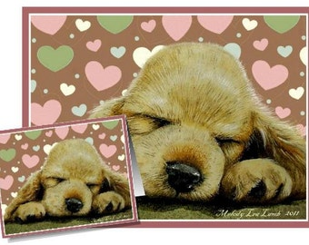 Valentine Puppy Dog Art by Melody Lea Lamb Set Of Four Note Cards