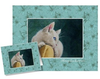 Set of Four White Kitten Cards Art by Melody Lea Lamb