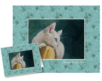 White Kitten Greeting Card by Melody Lea Lamb