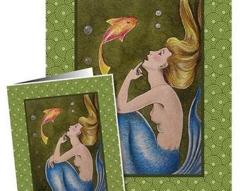 Mermaid and Fish Greeting Card by Melody Lea Lamb