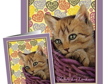 Set of Four Valentines Day Cards Kitten Cat Art by Melody Lea Lamb