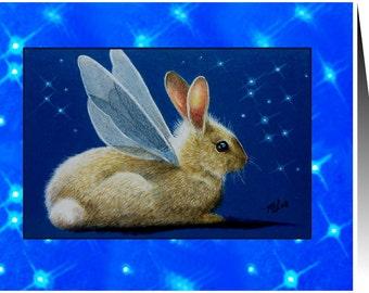 Set Of Fairy Bunny Handmade Cards by Melody Lea Lamb