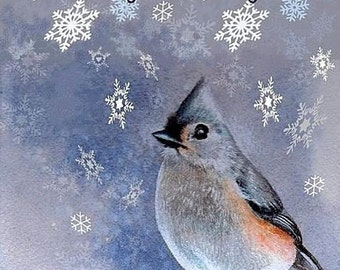 Christmas Card from Original Bird Art by Melody Lea Lamb