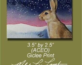 ACEO OE Giclee Print Bunny Melody Lea Lamb
