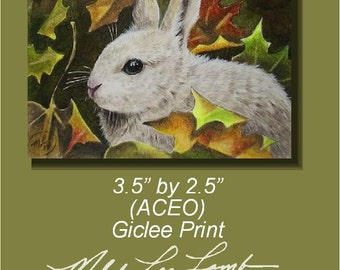 Miniature Bunny Art by Melody Lea Lamb ACEO Giclee Print