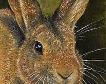 Golden Bunny Rabbit Art by Melody Lea Lamb ACEO Print #174