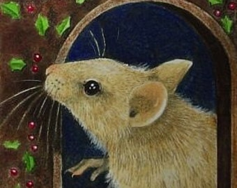 Christmas Mouse Art by Melody Lea Lamb ACEO Print