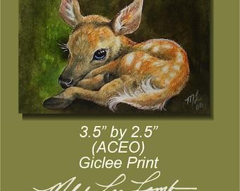 ACEO OE Giclee Print Deer Fawn Melody Lea Lamb