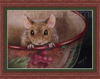 Little Mouse Miniature Miniature Art by Melody Lea Lamb ACEO  Print