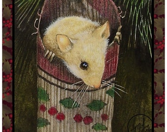 Set Of Four Christmas Mouse Greeting Cards Art by Melody Lea Lamb