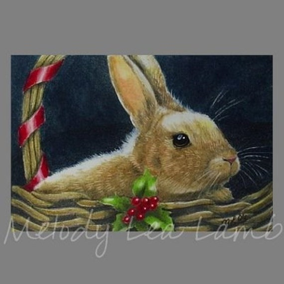 Holiday Bunny Rabbit Melody Lea Lamb ACEO Giclee Print
