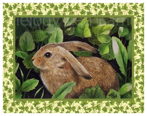 Spring Garden Bunny Rabbit Note Cards from Original Art by Melody Lea Lamb