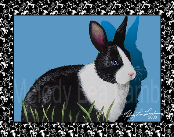 Set of Four Note Cards from Original Art by Melody Lea Lamb Tuxedo Bunny