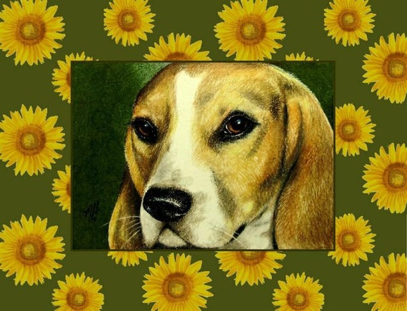 Beagle Dog and Sunflower Card from Original Art by Melody Lea Lamb