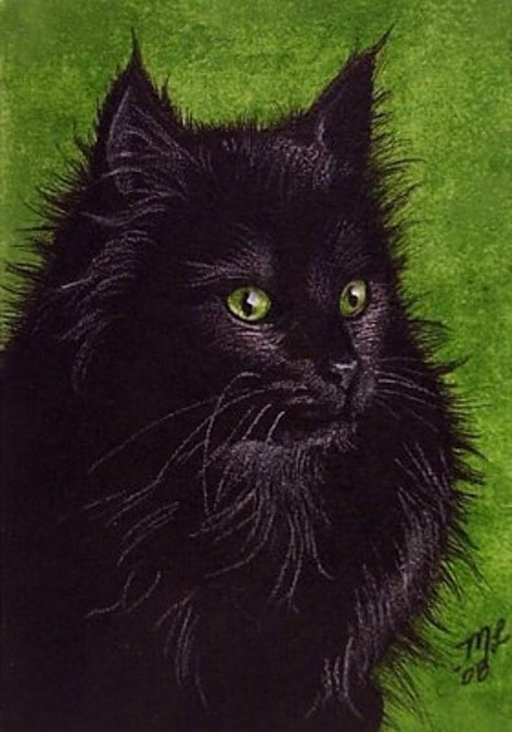 Black Cat Art by Melody Lea Lamb ACEO Print