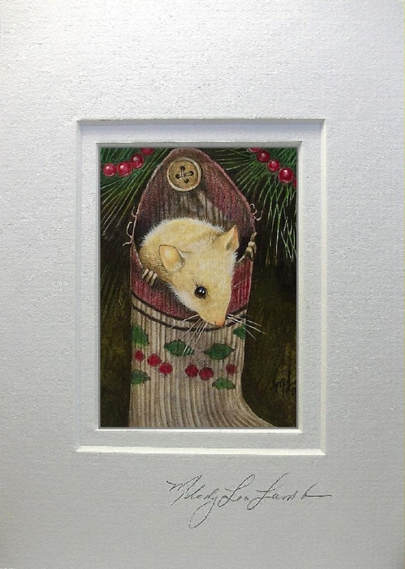 Matted ACEO Giclee Print Tiny Christmas Mouse Art by Melody Lea Lamb