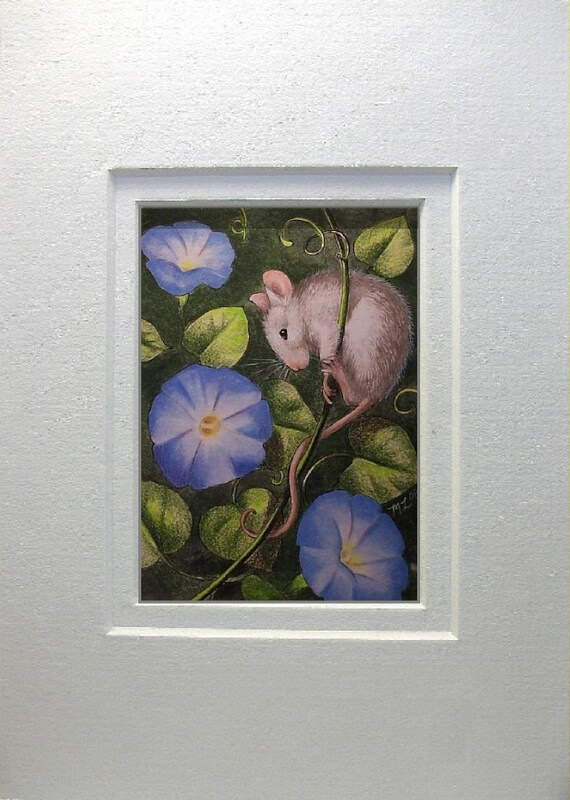 Morning Glory Mouse Art by Melody Lea Lamb Matted ACEO Giclee Print