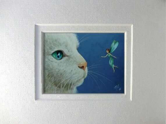 White Cat and Fairy Art by Melody Lea Lamb Matted ACEO Giclee Print