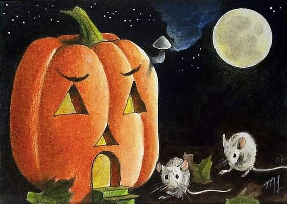 Halloween Party Mice and Pumpkin Miniature Art by Melody Lea Lamb ACEO Giclee Print