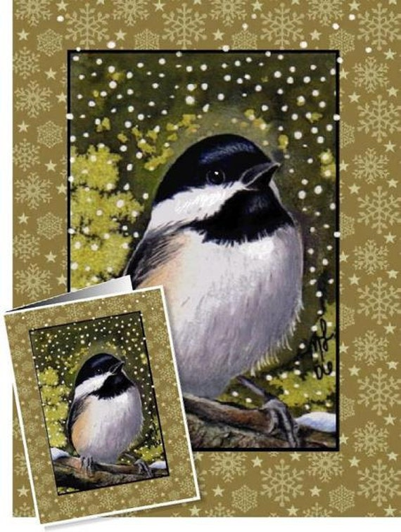 Set Of Four Chickadee Bird Greeting Cards by Melody Lea Lamb