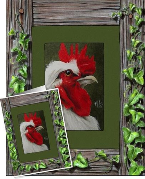 Rooster Ivy Frame Art Card by Melody Lea Lamb