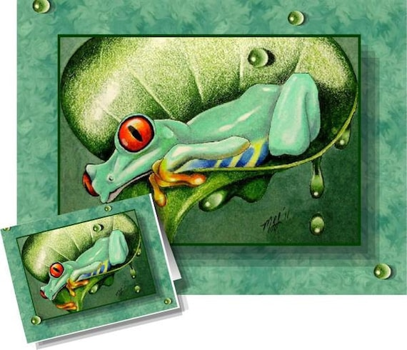 Happy Tree Frog Greeting Card Melody Lea Lamb