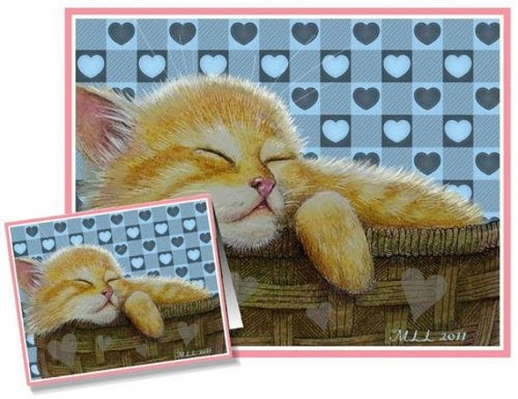 Valentine's Day Card Kitten Cat Art by Melody Lea Lamb