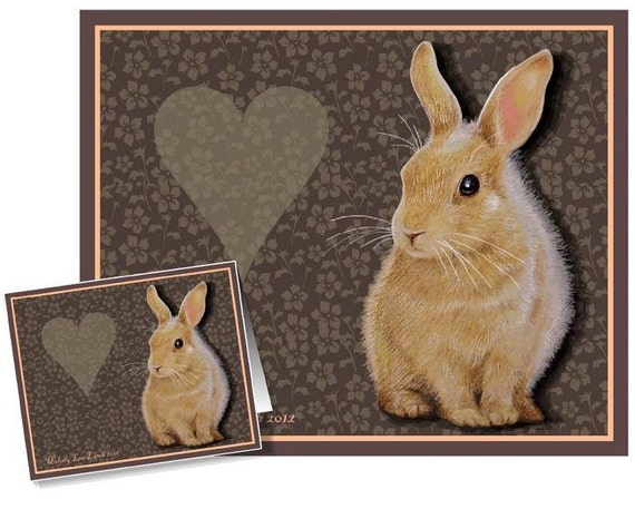 Set of Four Valentine's Day Cards Bunny Art by Melody Lea Lamb