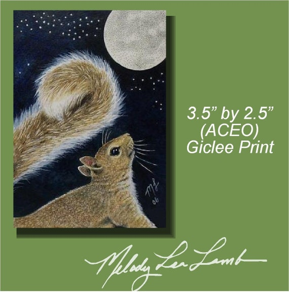 ACEO OE Print Wildlife Art Melody Lea Lamb Squirrel