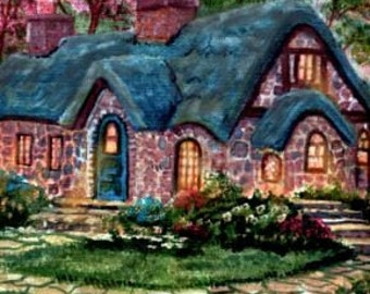 ACEO Choose 1 of 5 Original Giclee Digital Painted Print Signed Collectible Cottage or other scenes by AveHurley