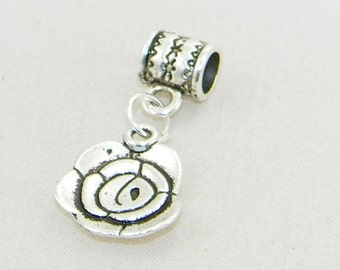 Tibetan silver rose dangle charm bead for European bracelets and necklaces