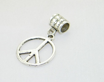 Tibetan silver peace large hole dangle charm bead for European bracelets and necklaces