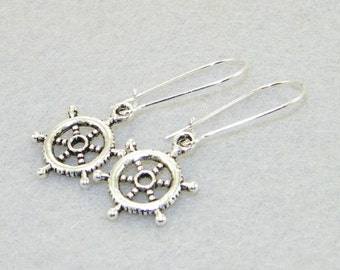 Antique silver ship wheels charm dangle earrings, boating, sailing, jewelry